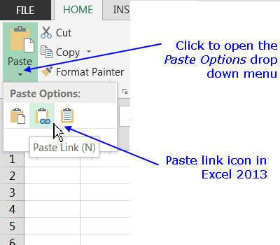 Paste Links For Data Charts And Formulas In Excel Word And