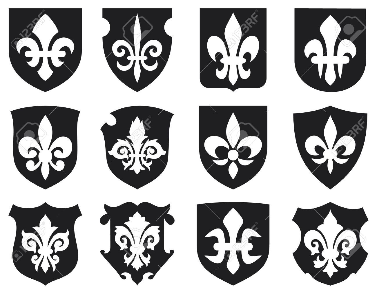 15686820 lily flower heraldic symbol fleur de lis and medieval lily flower heraldic symbol fleur de lis and medieval shields royal french lily symbols for design and decorate lily flowers collection lily flowers set buycottarizona