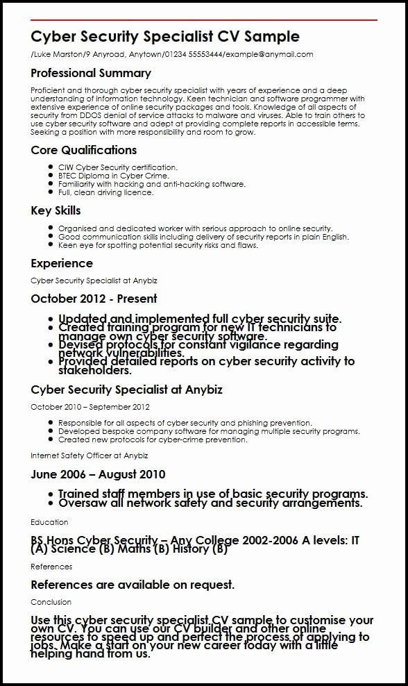 23 Cyber Security Resume Examples in 2020 Security resume