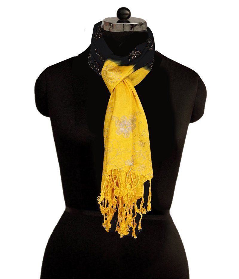 406a2957d Golden Yellow Black Scarves, Rayon Cotton Scarf, Infinity Scarf, Lightweight  Scarf, Mandala