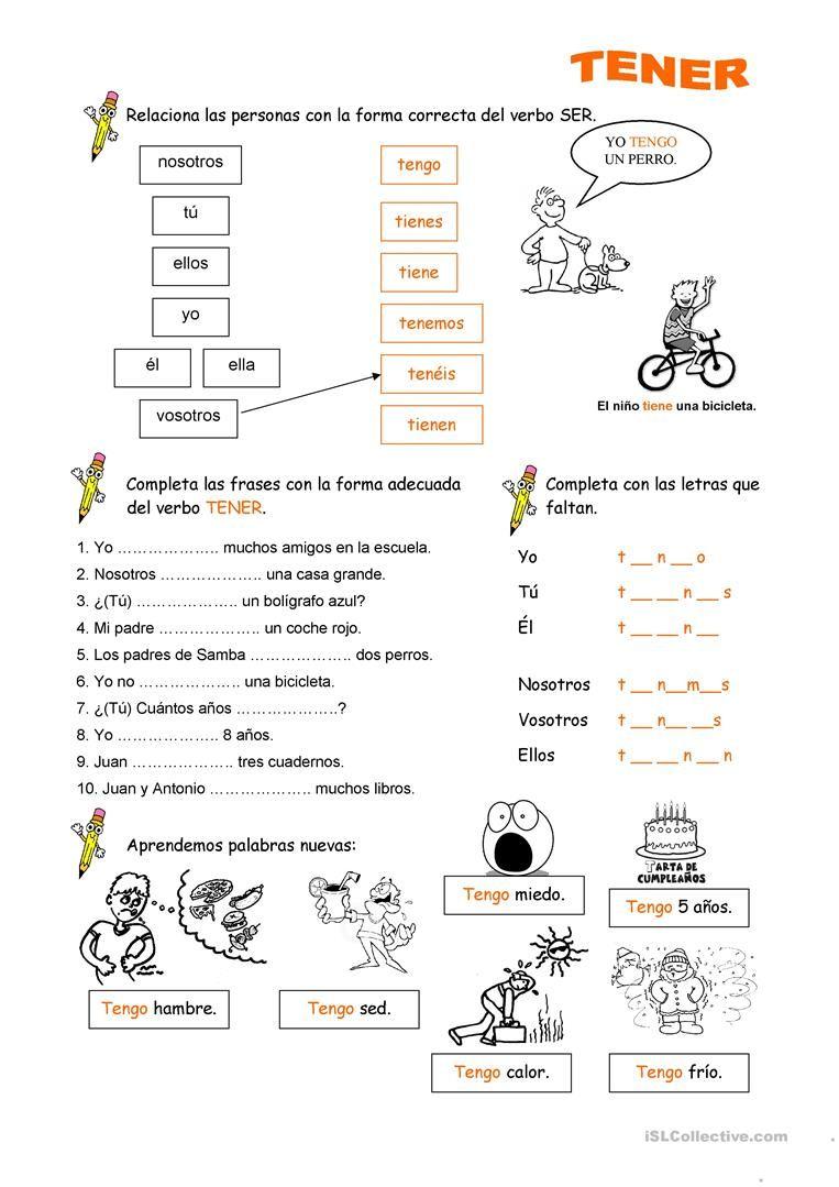 worksheet Tener Worksheet verbo tener pinterest teaching materials english tener