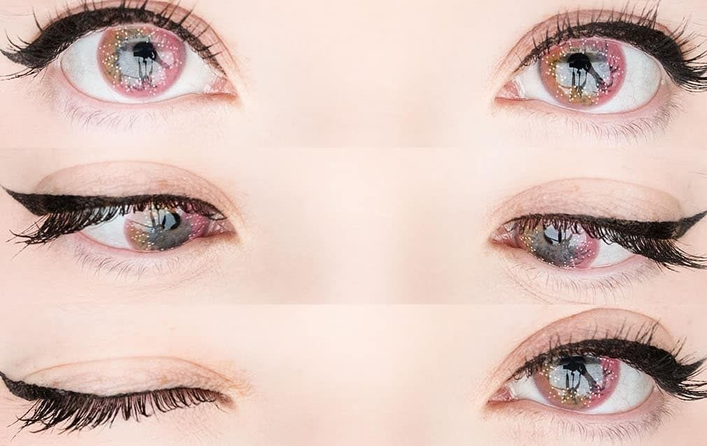 Cute pink colored eye contacts in 2020 anime eye makeup