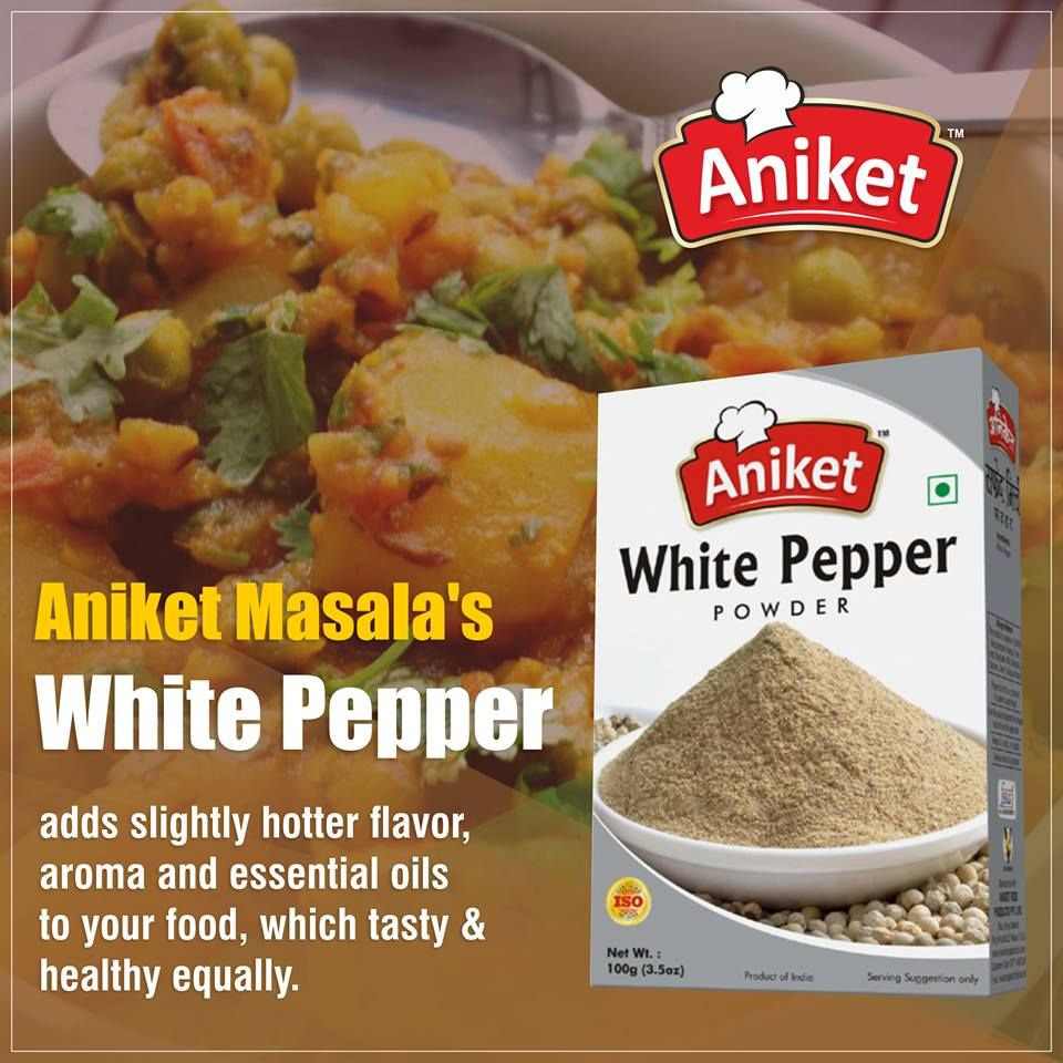 Aniket Masala's White Pepper adds slightly hotter flavor, aroma and essential oils to your food, which tasty & healthy equally.