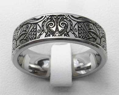 Trending titanium laser engraved ring