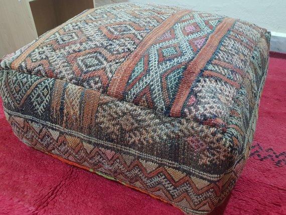 Vintage Pouf Decorative Pouf Kilim Pouf Ottoman Pouf Moroccan