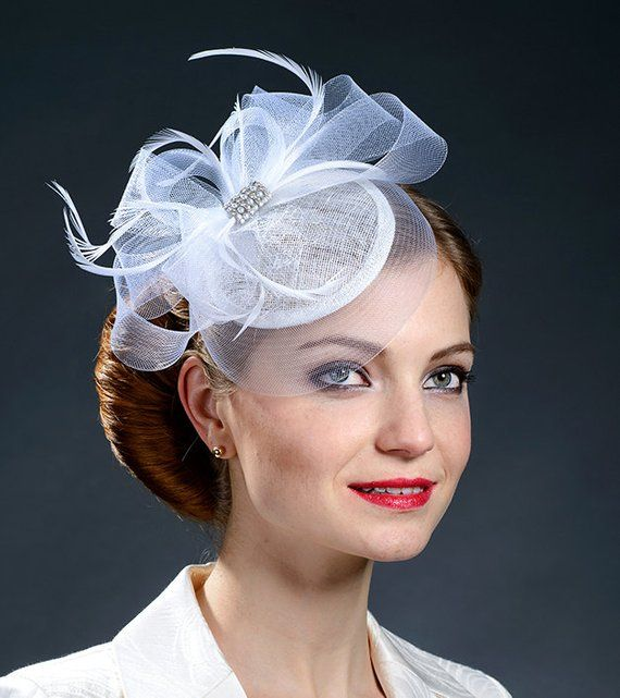 White fascinator hat for brides, bridesmaids, Ascot, Derby, parties - New colour for the popular fas #fascinatorstyles