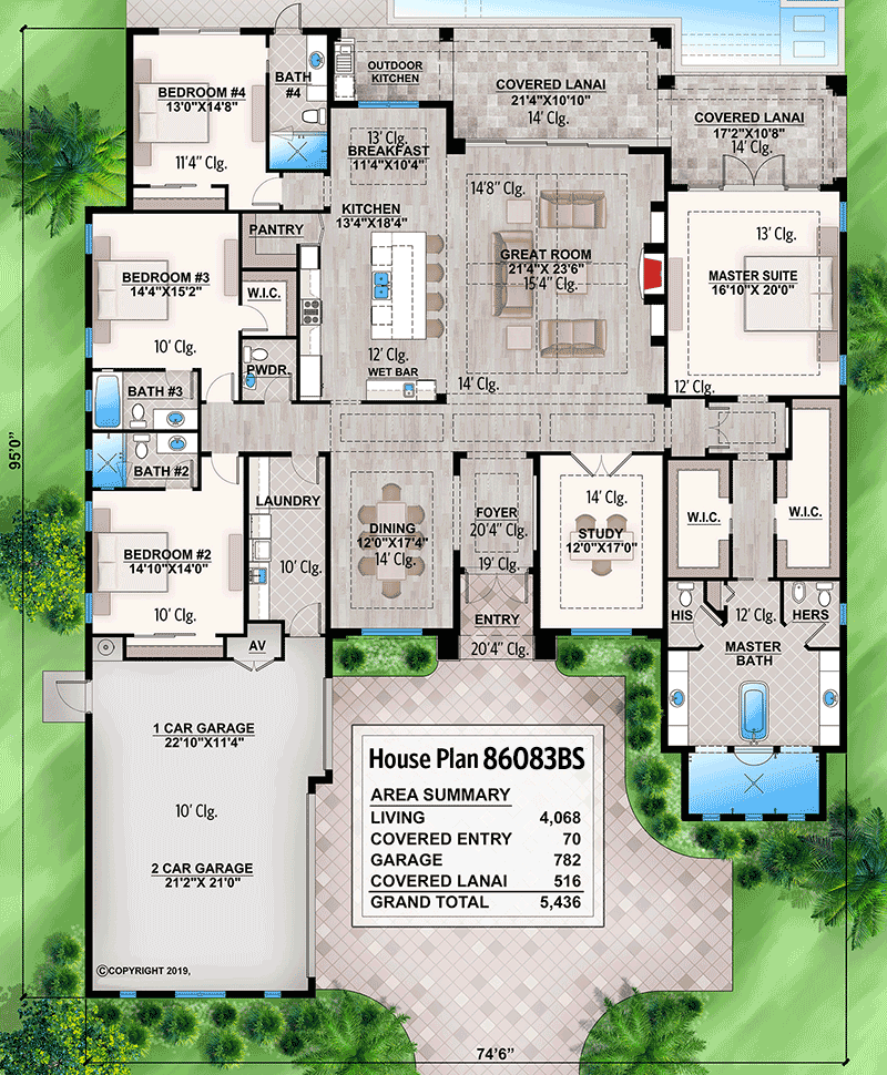 One Level Beach House Plan With Open Concept Floor Plan In 2020 Beach House Floor Plans Beach House Plan Beach House Plans