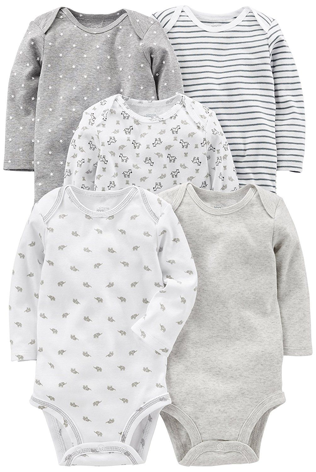 0fd72cb63 Amazon.com: Simple Joys by Carter's Baby 5-Pack Long-Sleeve Bodysuit:  Clothing
