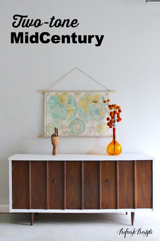 two tone furniture painting. Two Tone Mid Century Modern Furniture Painting