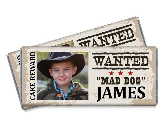 Wanted Outlaw Candy Bar Wrappers Favors Party Birthday Party Western Wild West