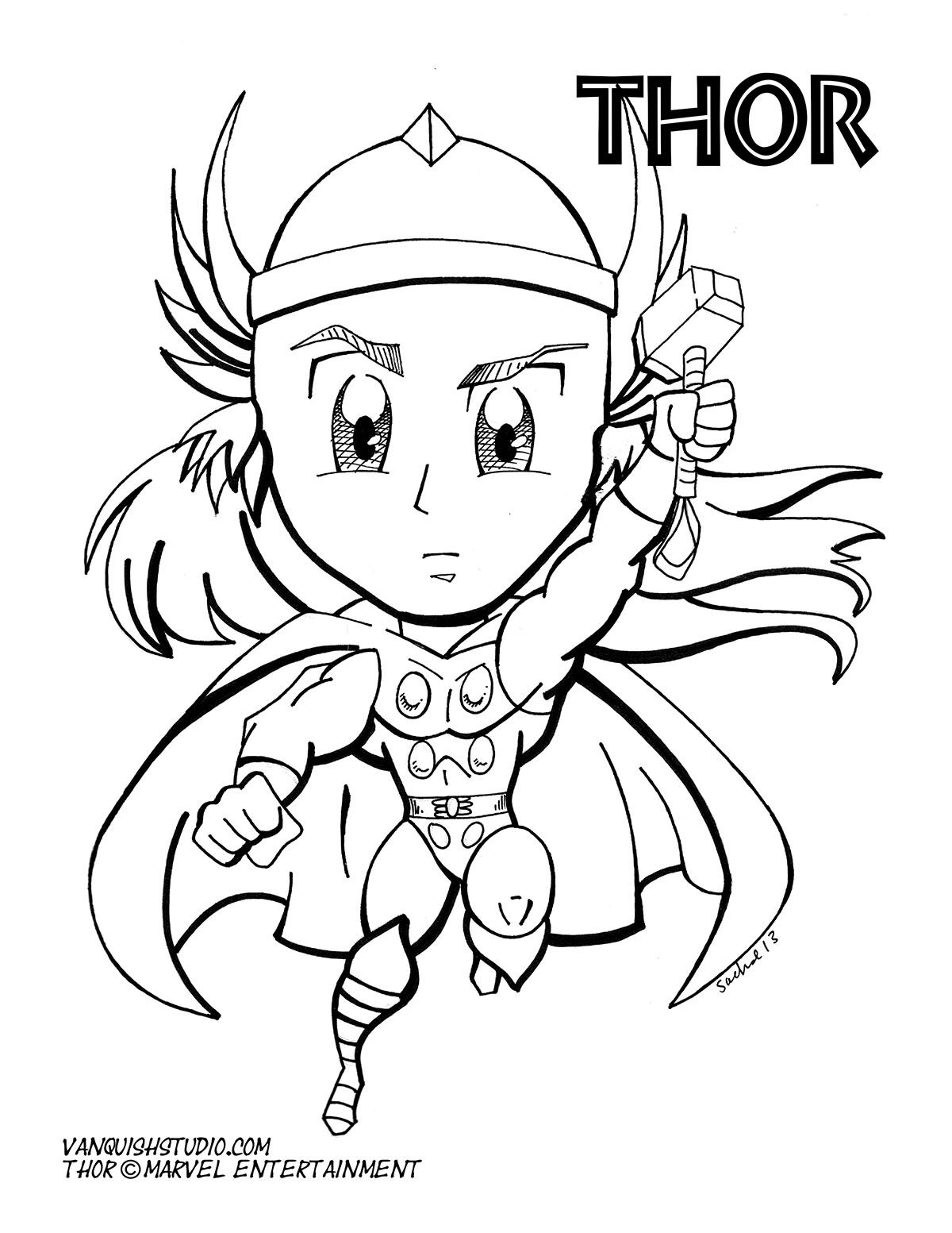 Chibi Thor Superhero Coloring Pages Marvel Coloring Avengers Coloring [ 1553 x 1200 Pixel ]