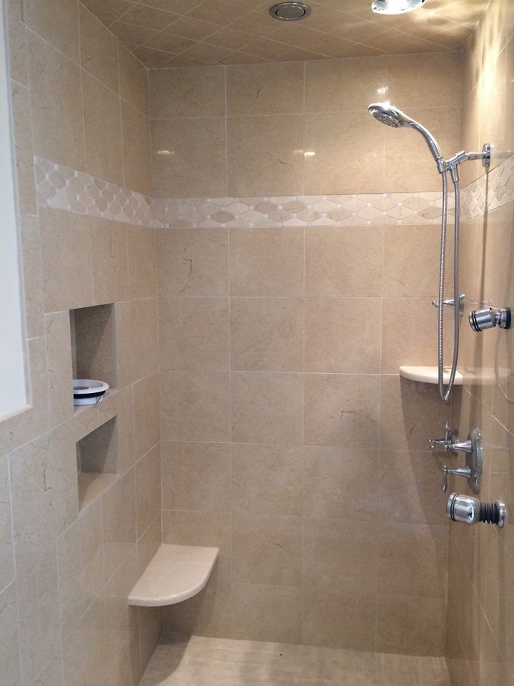 In Progress Walk In Shower Features 2 Body Sprays And An Inset