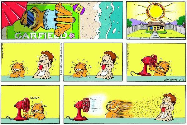 Summer VENTILATOR VENTILADOR VENTILATORE. Garfield ♥ comic. Cat #cat gattino carino #garfield #comic Il meglio di. < thebestof