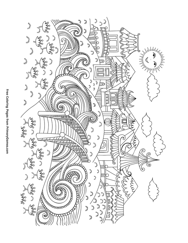 Chinese New Year Coloring Pages Ebook Traditional Chinese City