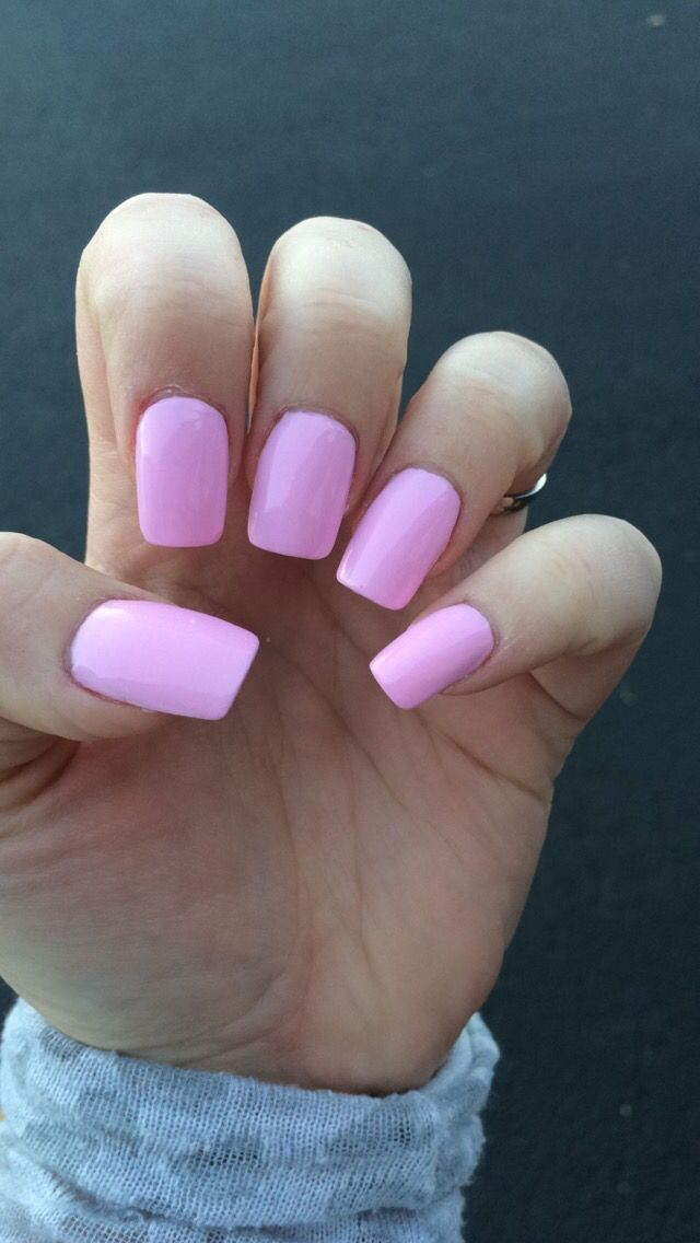 Hot pink/Barbie pink square acrylic nails. Girls just wanna have fun ...