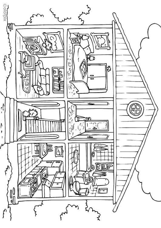 Malvorlage Haus von innen | Ausmalbild 25995. | Clipart für ABs ...