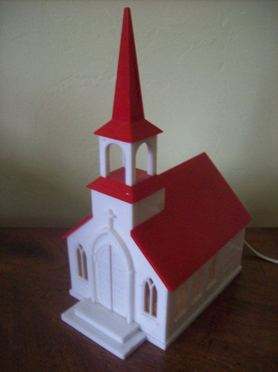 Plastic Vintage Light Up Church Christmas Decoration ...