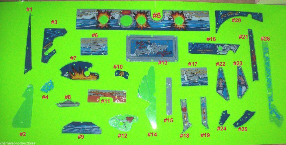 Torpedo Alley By Data East 1988 Orig Nos Pinball Machine Plastics Choice See Pic Pinball Pinball Machine East