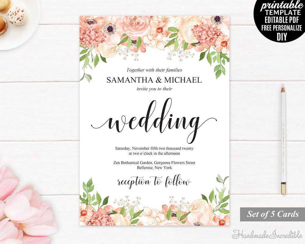 Peach and Cream Wedding Invitation Set. Printable Floral Wedding ...
