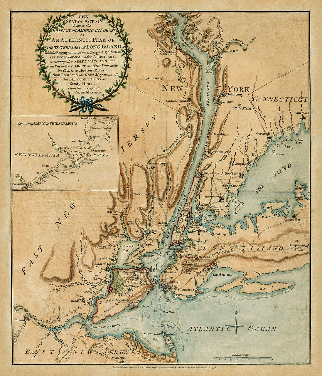 Map Of The Battle Of Long Island New York