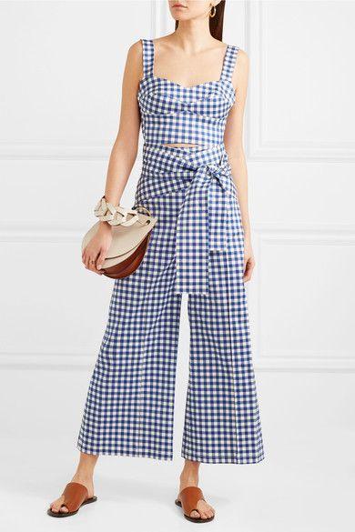 Salve Cropped Gingham Cotton-blend Wide-leg Pants - Blue Silvia Tcherassi 0ku4f44Xx0