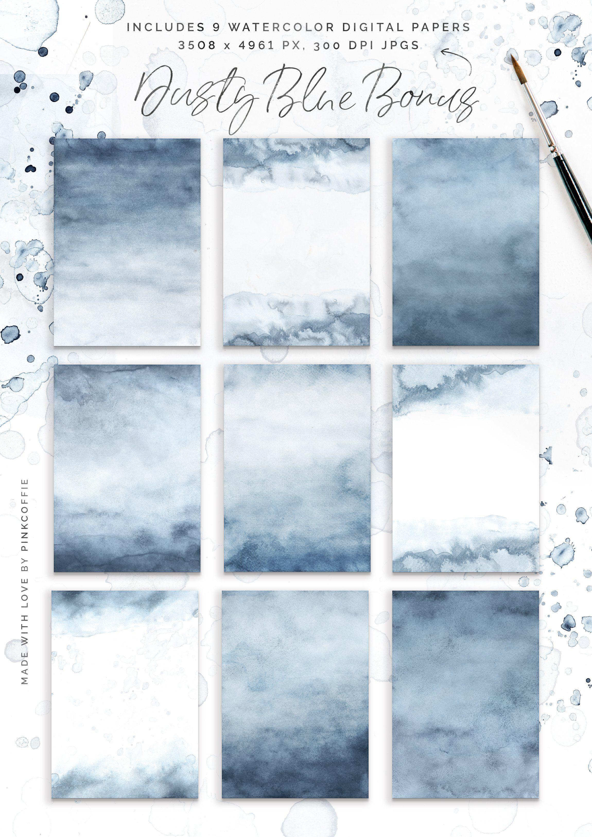 Dusty Blue Watercolor Textures Kit Blue Watercolor Watercolor