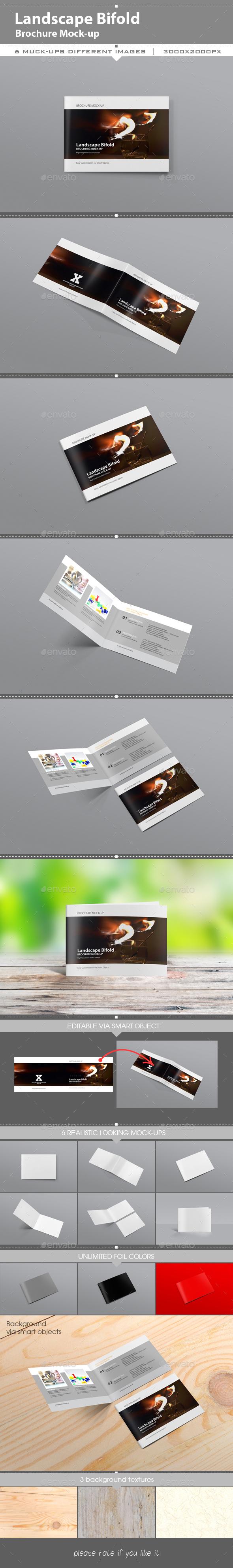 Landscape Brochure Mockup  Photoshop Psd BiFold Mockup
