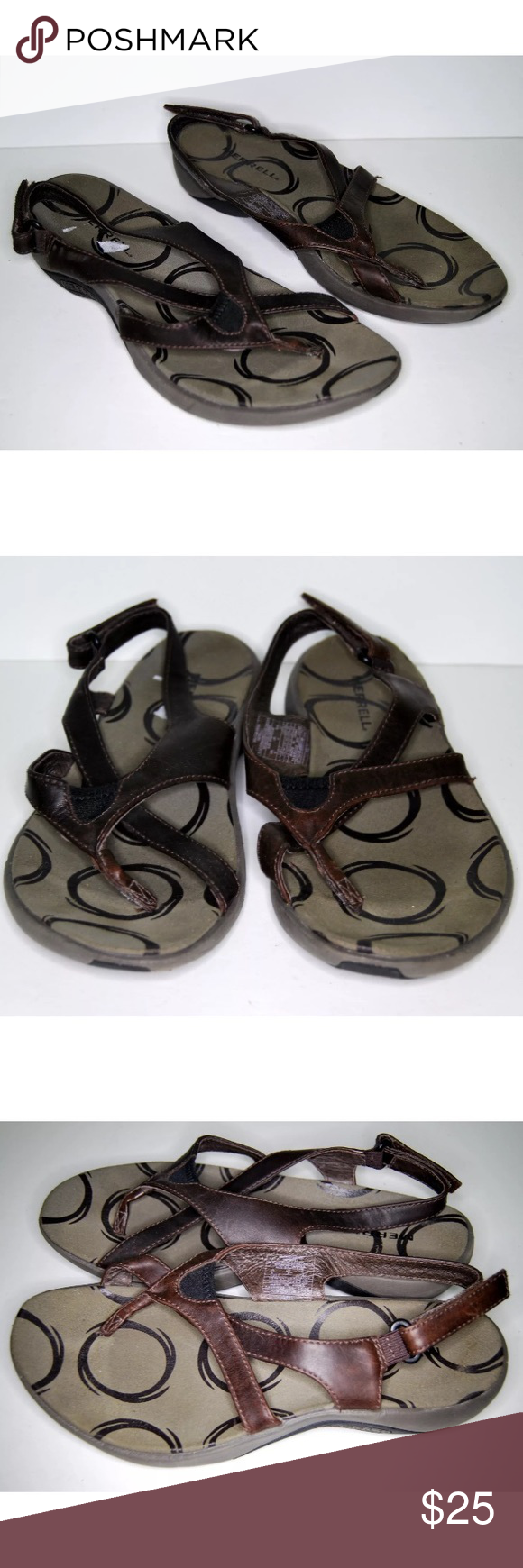 7b2822fbde54 Merrell Savannah Brown Leather Sandals Merrell Savannah Sandals Size 6  Color-Brown Shoes are Gently used. See pics. General Wear. Has some sticker  remnants ...