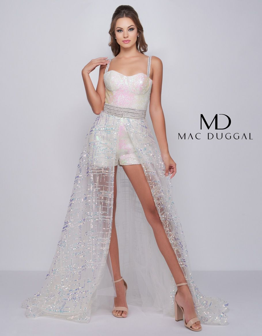 9b25aae8573 Prom Romper with Illusion Over Skirt