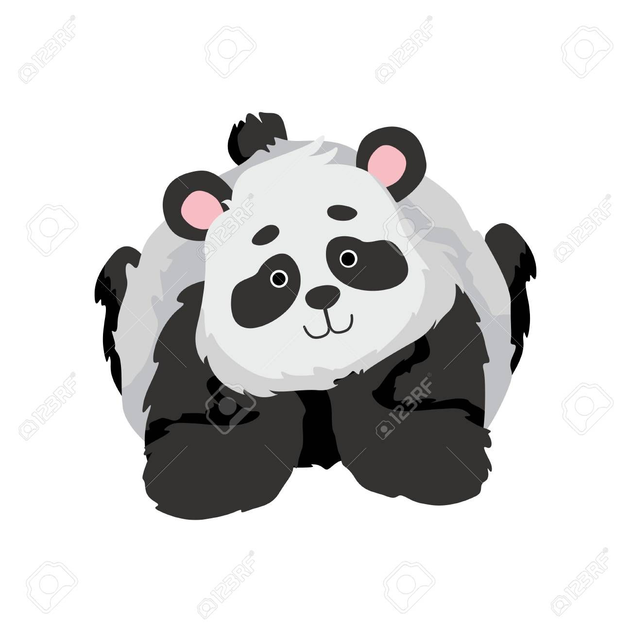 Cute Baby Panda Bear, Funny Lovely Animal Character Lying on His Stomach Vector Illustration on White Background. Illustration , #SPONSORED, #Funny, #Lovely, #Animal, #Bear, #Cute #babypandabears
