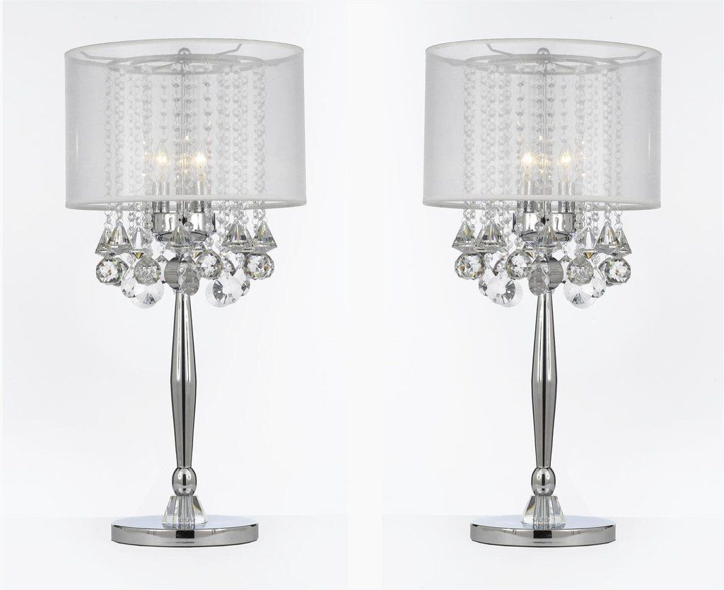 Silver Mist 3 Light Chrome Crystal Table Lamp With White Shade Transitional Contemporary Modern Lamp T204 Gm C003 Crystal Table Lamps Modern Lamp Shades Lamp
