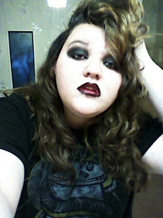 Vampire makeup with ombree lips black to deep red