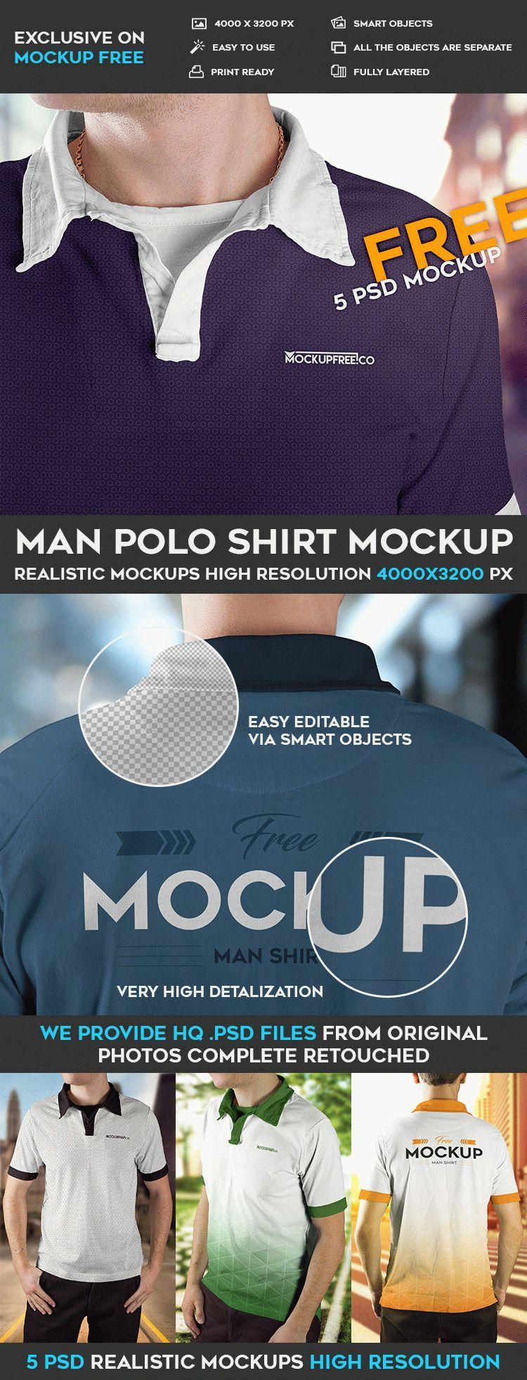 5 Free Man Polo Shirt PSD Mockups