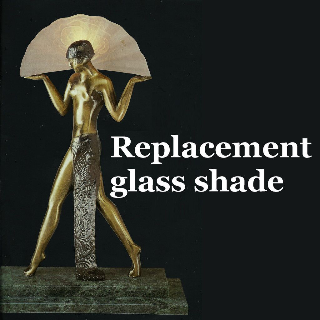 Guerbe Le Verrier frosted glass replacement shades for Verrier Egyptian  Dancer Art Deco lamp