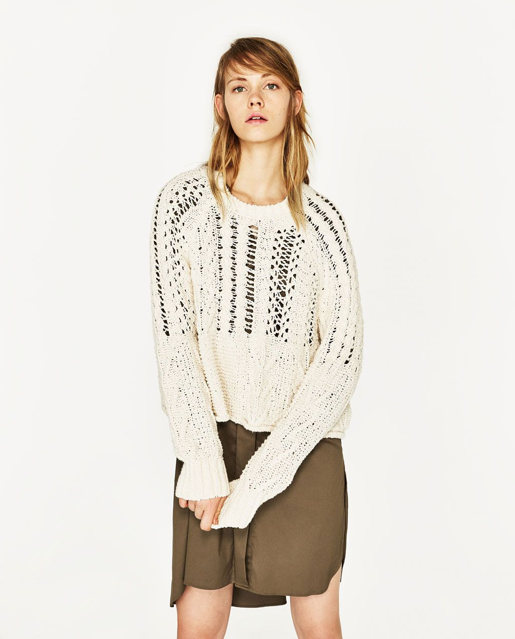b6790edf219ba OPEN-WORK CABLE KNIT SWEATER-Sweaters-KNITWEAR-WOMAN | ZARA United States