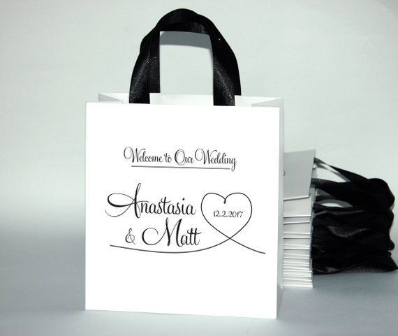 35 Welcome To Our Wedding Bags With Satin Ribbon Handles And Custom Names Personalized For Hot
