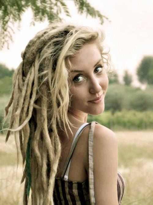 Blonde girl with dreads