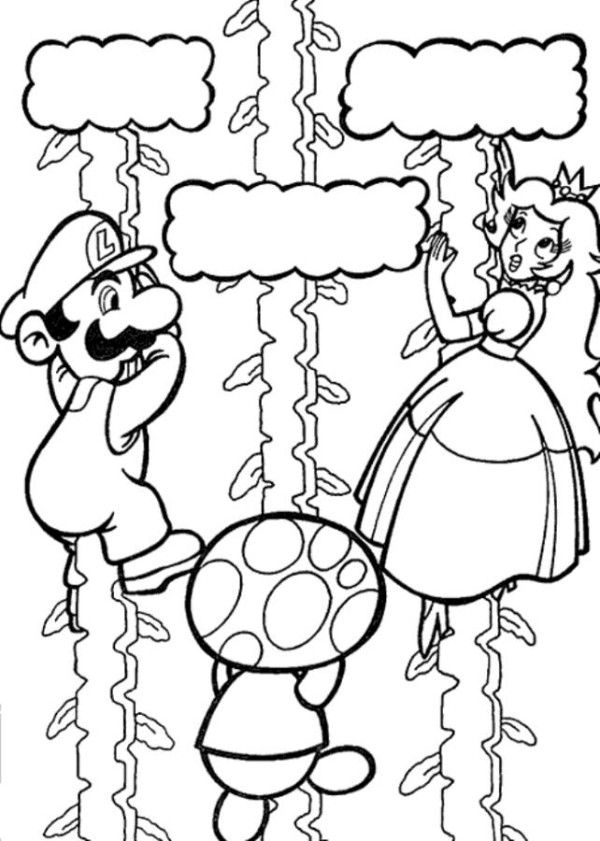 Luigi And Toad Saving Princess Peach Mario Coloring Page Mario