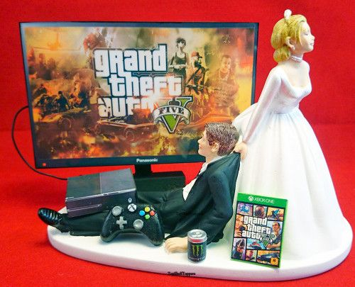 Funny Gamer Wedding Cake Topper Bride And Groom Gta Xbox One Ps4