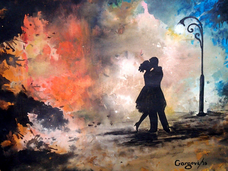 Watercolor Original Painting - The Kiss - Figurative ...