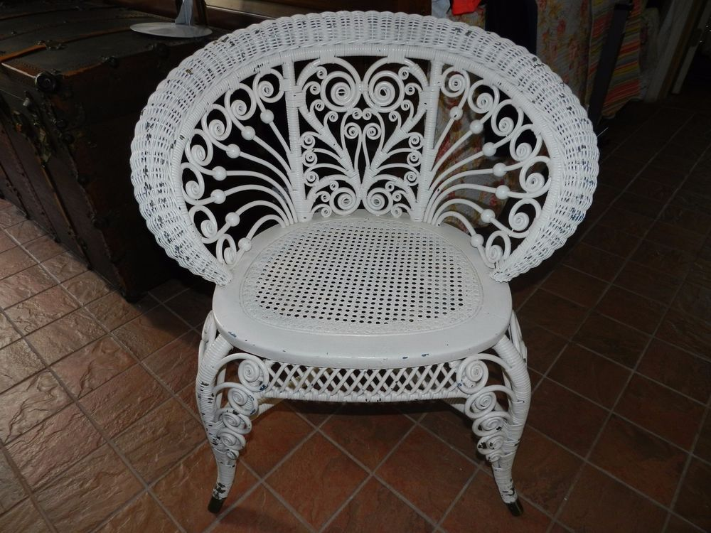Antique Victorian Wicker Rattan Occasional Accent Chair Ornate Cane Seat