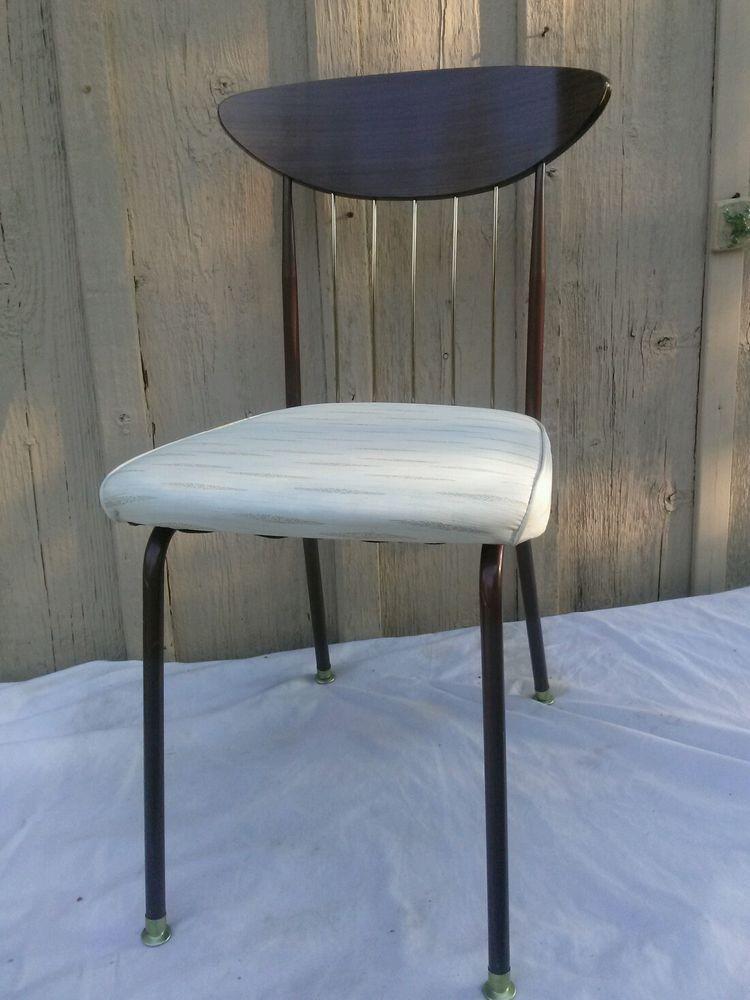 Vintage 1950s Atomic Chromcraft Kitchen Chair Vinyl Brass Brown MCM #Atomic  #Chromcraft