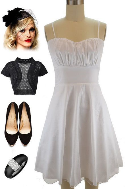 NUMBER ONE WISH. LOVE IT! 50sStyle WHITE ROUCHED Bust Bombshell PINUP Holiday PARTY Dress w/Attached Tulle #PrivateManufacturer #Sundress #Cocktail