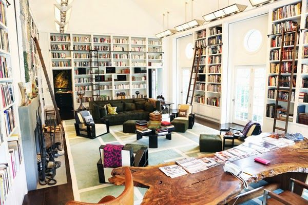 dvf living room, wall of books