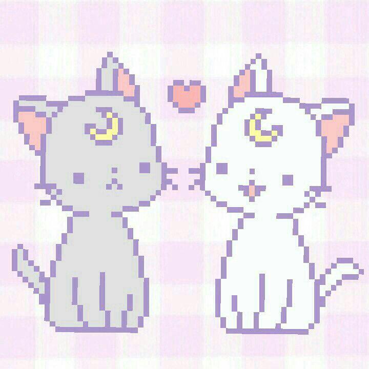 Some Very Cute Pixel Art Pixel Art Luna And Artemis Minecraft Pixel Art
