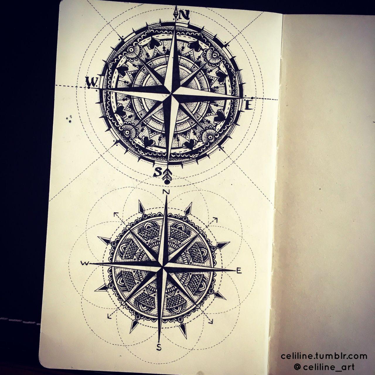 compass zentangle doodle artwork drawing tattoo idea. Black Bedroom Furniture Sets. Home Design Ideas