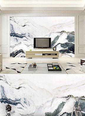 电视背景墙绘画囹�a_大理石纹水墨山水画电视沙发背景墙|Обои
