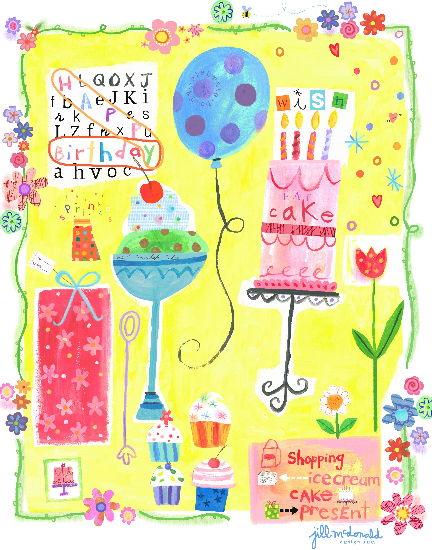 Birthday Illustration by Jill McDonald Design