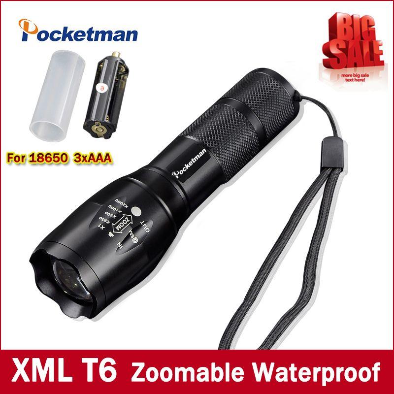 Haute Bright E17 3800 Lumens Cree Xm L T6 Led Lampe De Poche 5 Mode Zoomables Linternas Led Torche Par 1 18650 Ou 3 Aaa Livraison Gratuite