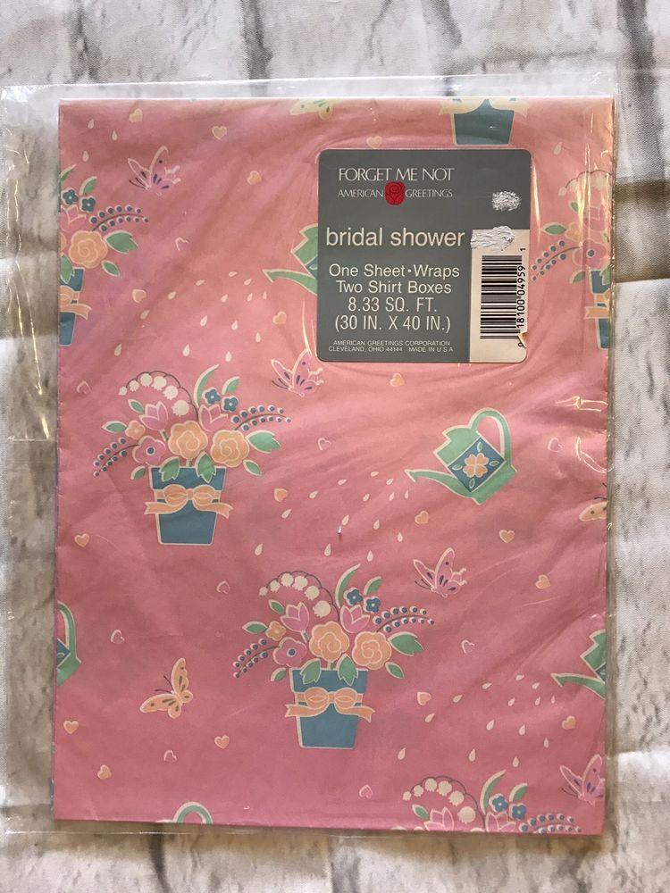 American greetings bridal shower pink floral wrapping paper bridal american greetings bridal shower pink floral wrapping paper ebay m4hsunfo